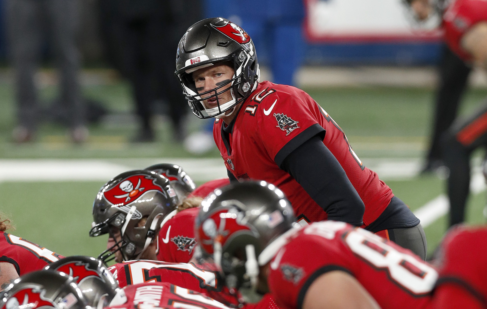 Tom Brady, #12 of the Tampa Bay Buccaneers, in action against the New York Giants at MetLife Stadium on November 02, 2020, in East Rutherford, New Jersey.