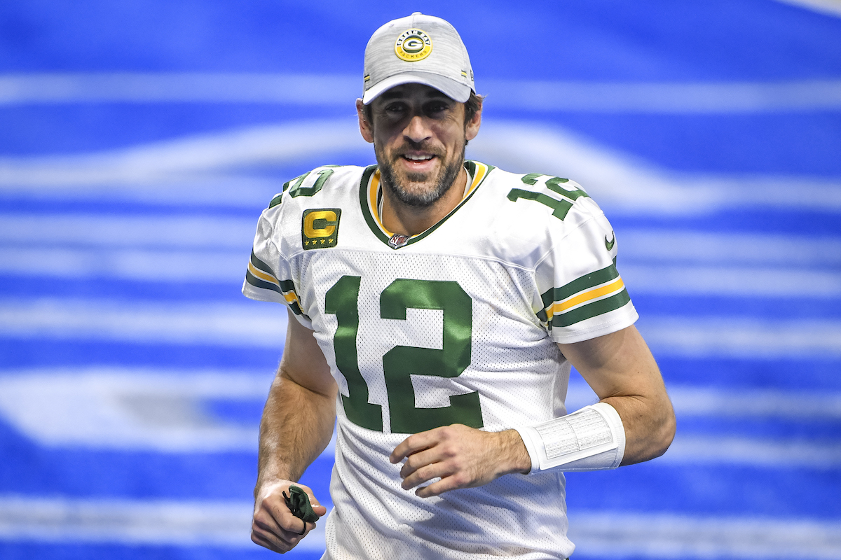 Aaron Rodgers of the Green Bay Packers after a win