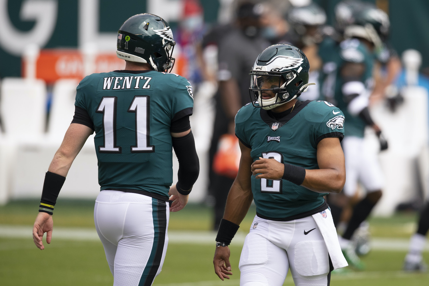 Carson Wentz has been mediocre and Jalen Hurts has been lightly used as the Eagles struggle to figure out their QB situtation.