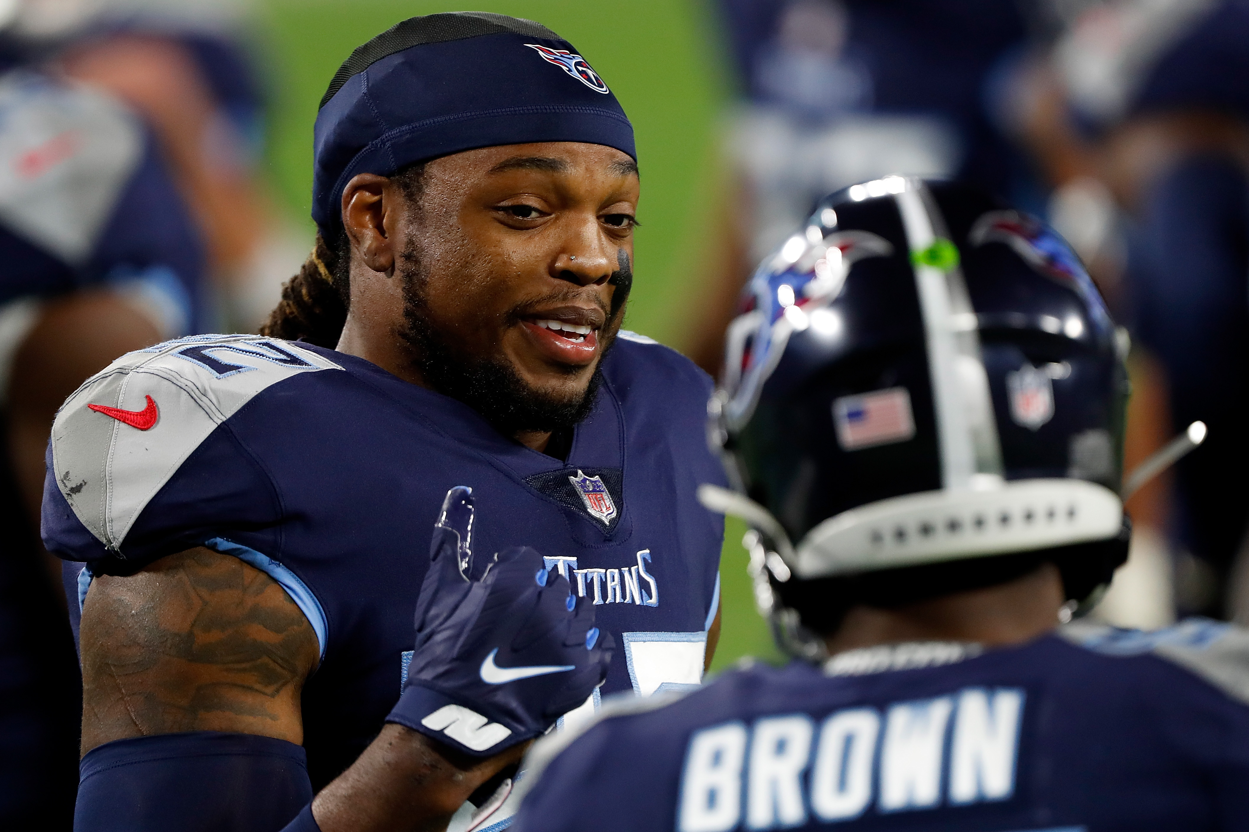 Derrick Henry of the Tennessee Titans participates in warmups