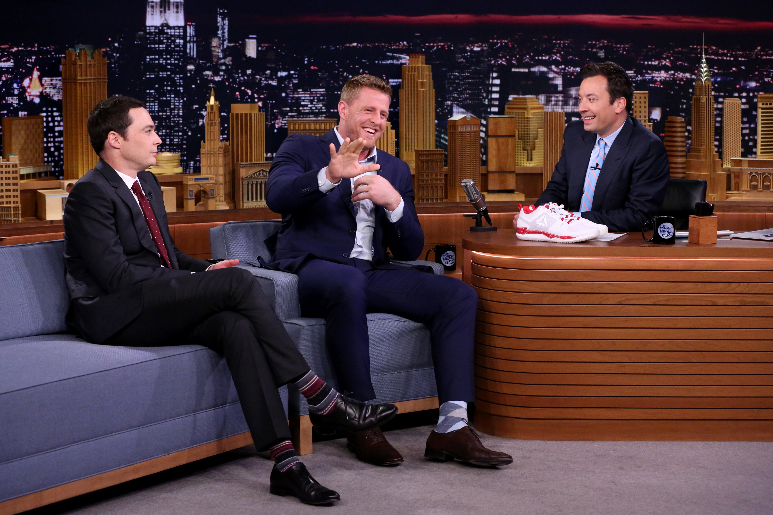 NFL player J.J. Watt and Jimmy Fallon