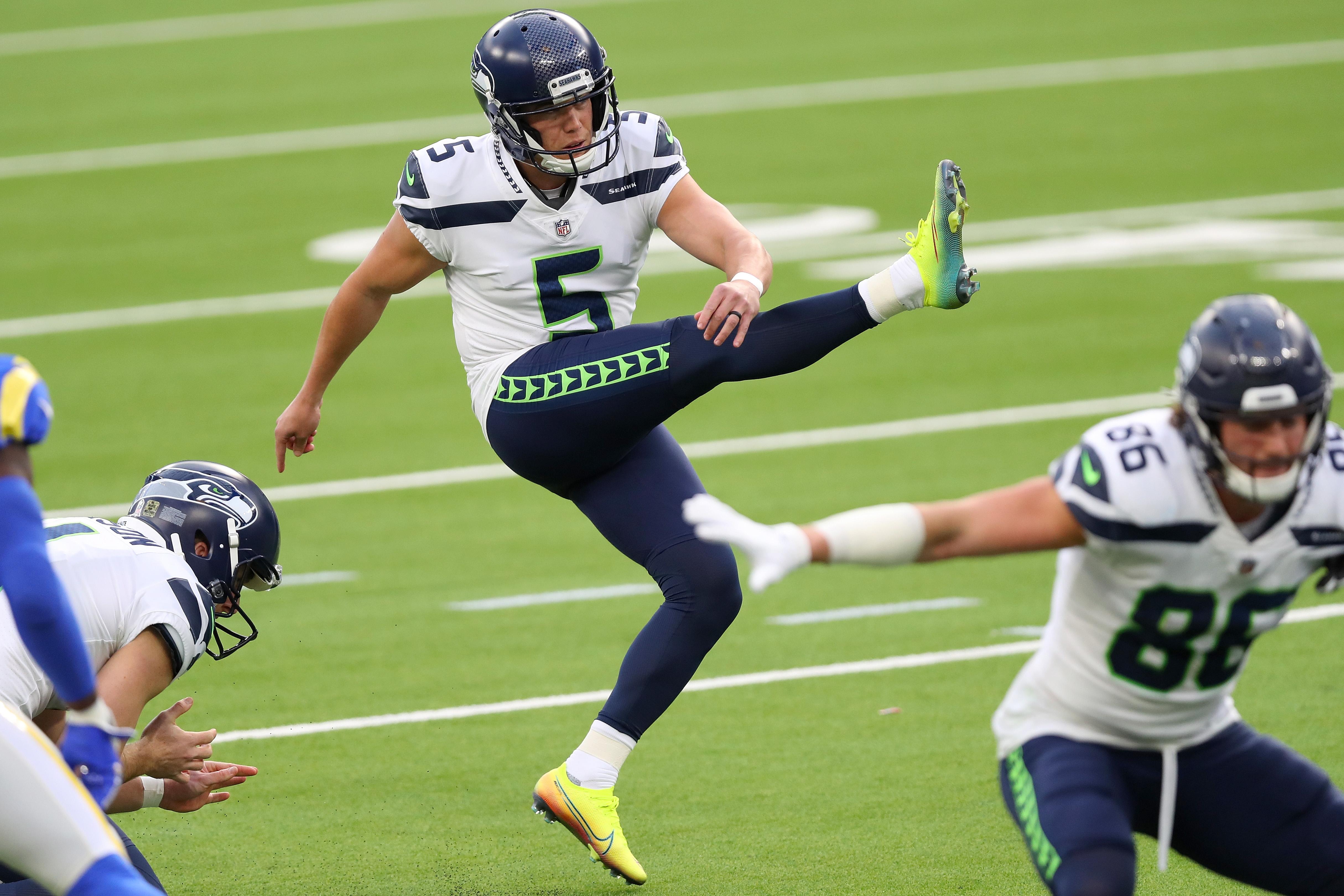Jason Myers of the Seattle Seahawks kicks a field goal