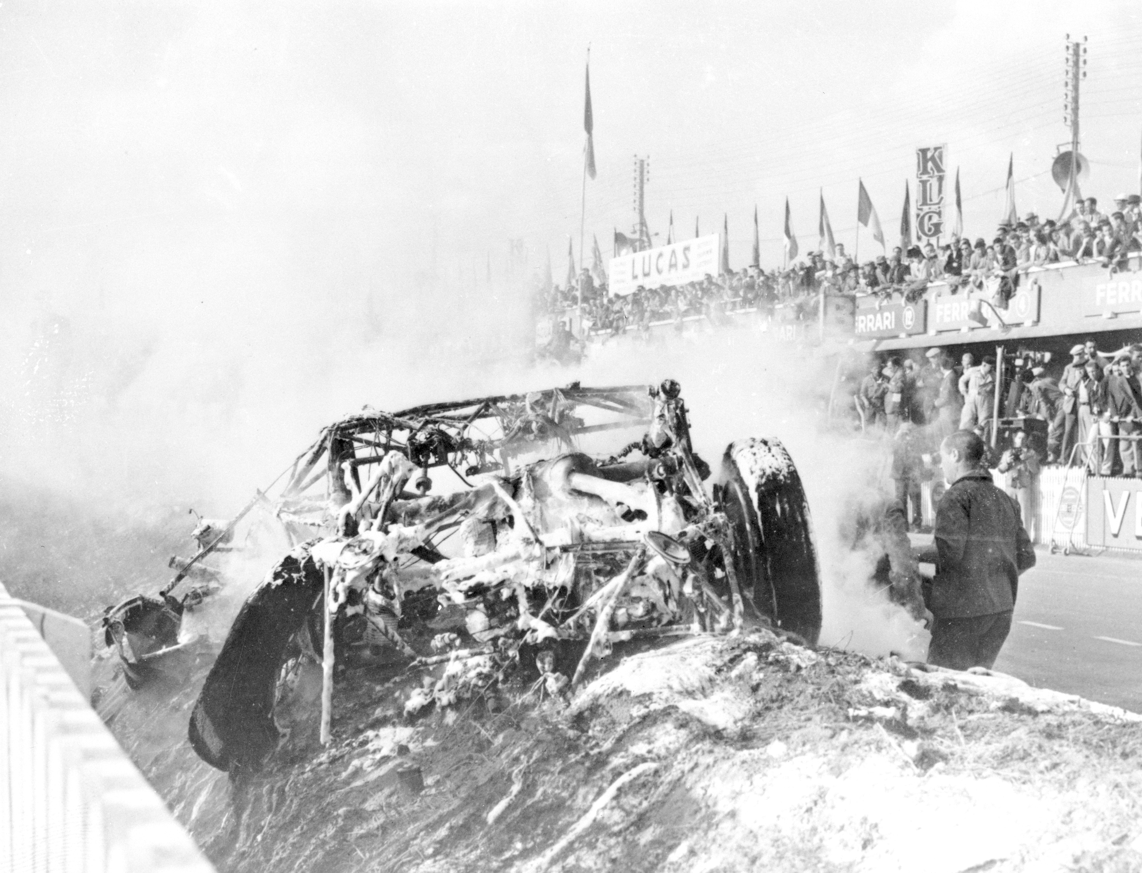 Wreckage at Le Mans in 1955