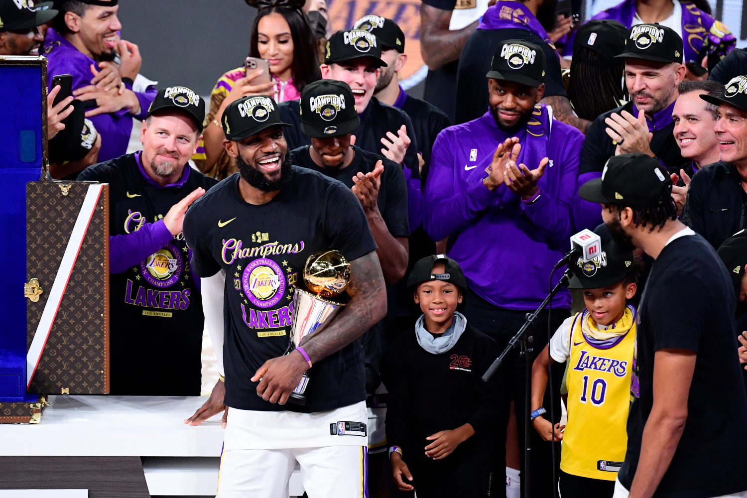 LeBron James and the Lakers look to repeat this upcoming season. James seems to be pretty excited about his new teammates, too.