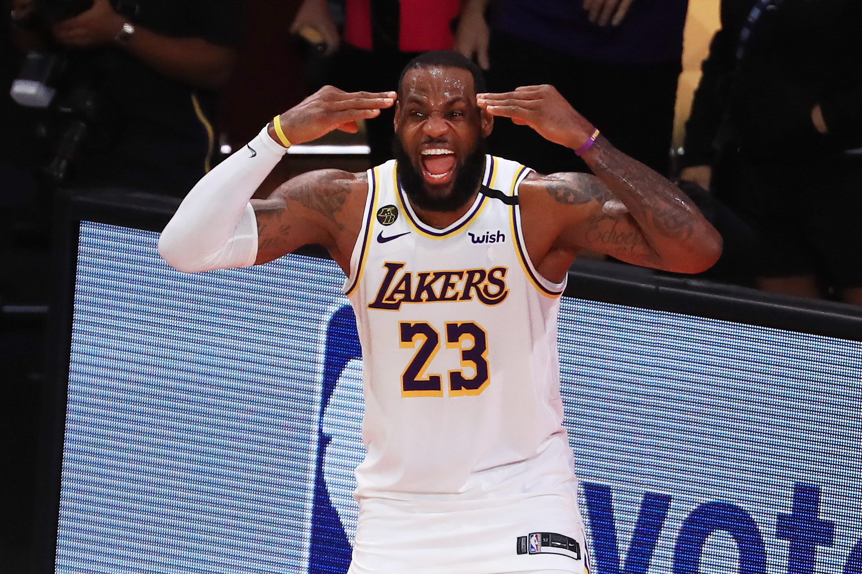 LeBron James of the Los Angeles Lakers reacts after winning the 2020 NBA Championship