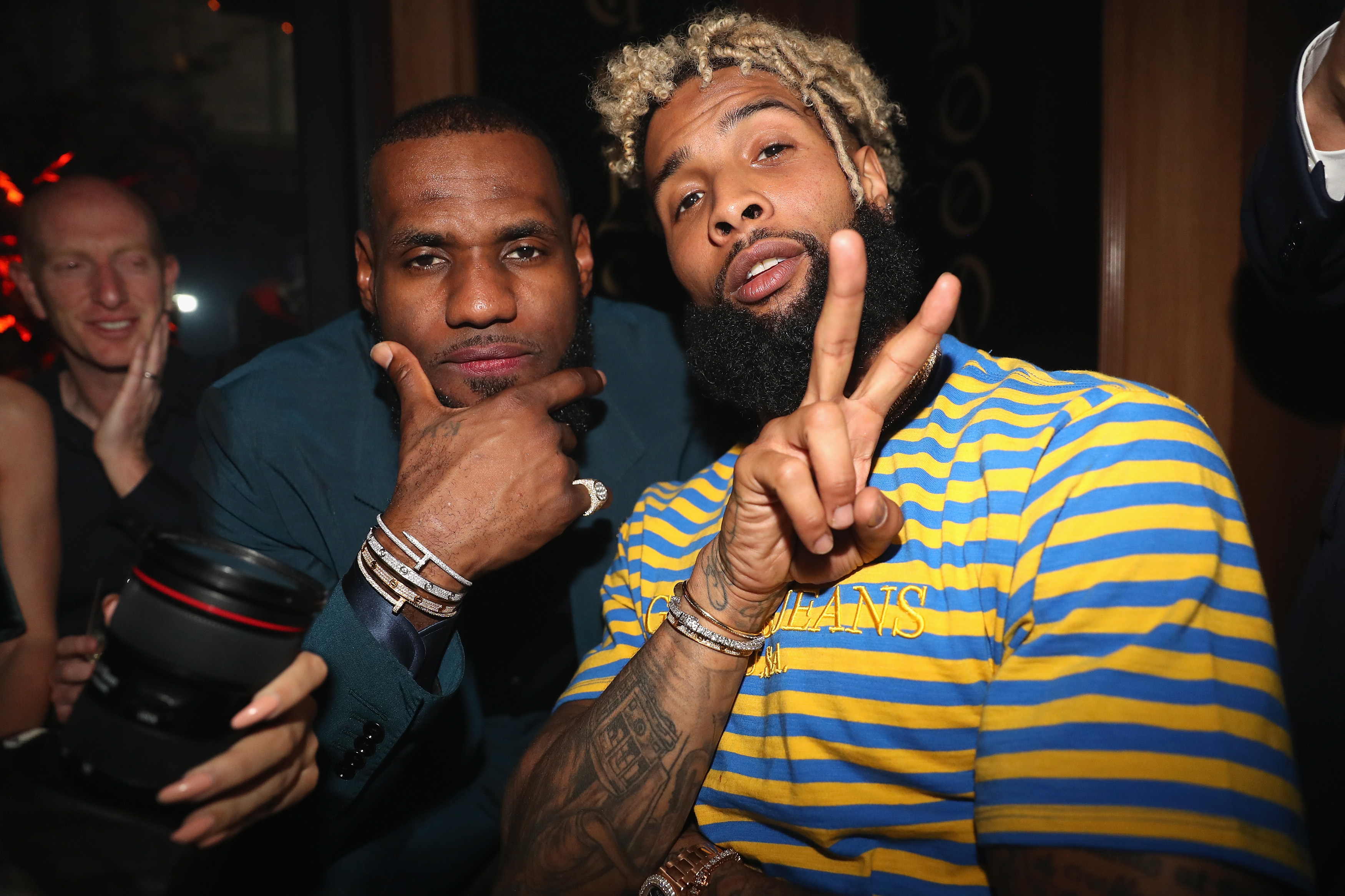 NBA player LeBron James and NFL player Odell Beckham Jr. in 2018