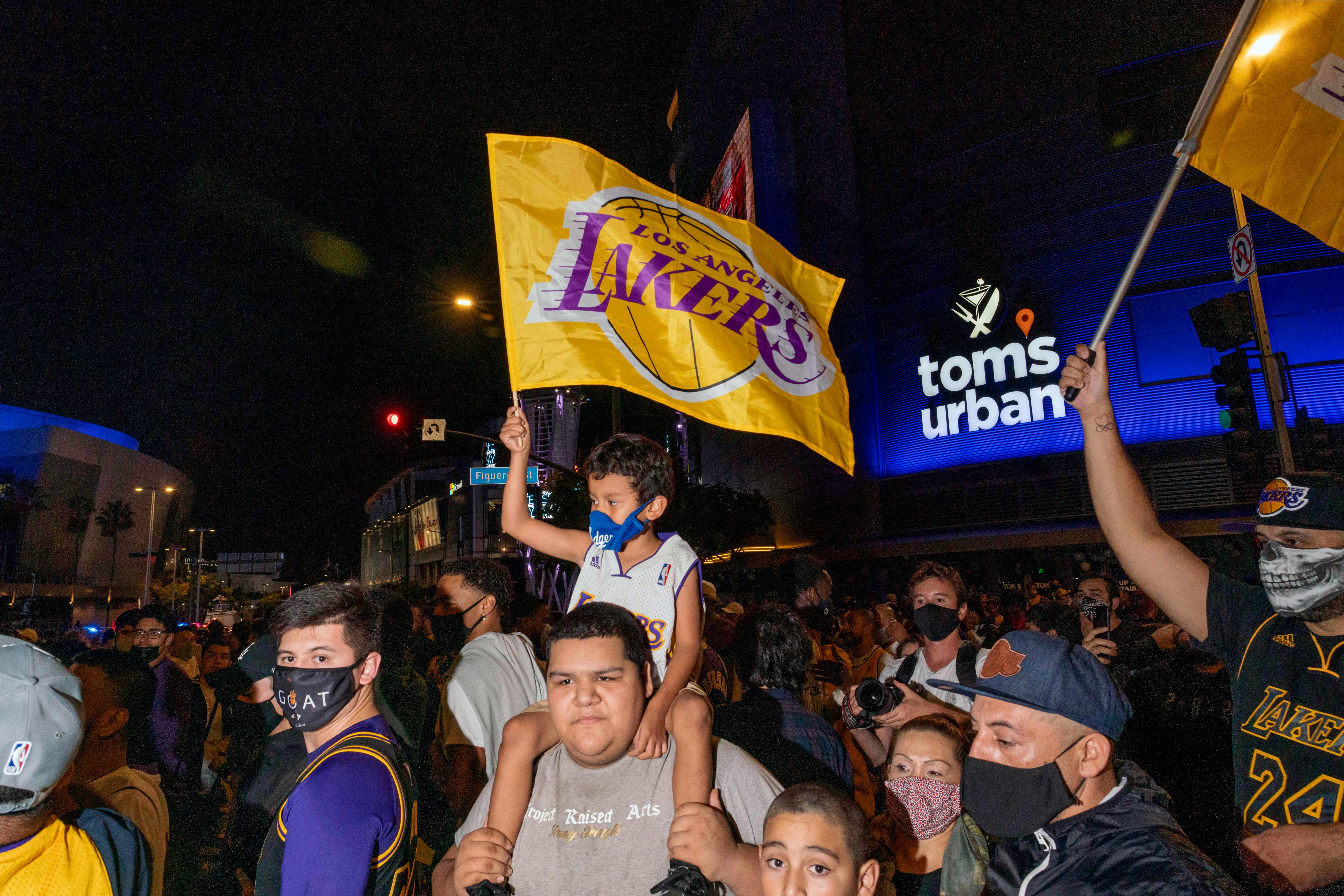 NBA fans celebrate the Lakers winning the 2020 NBA Championship