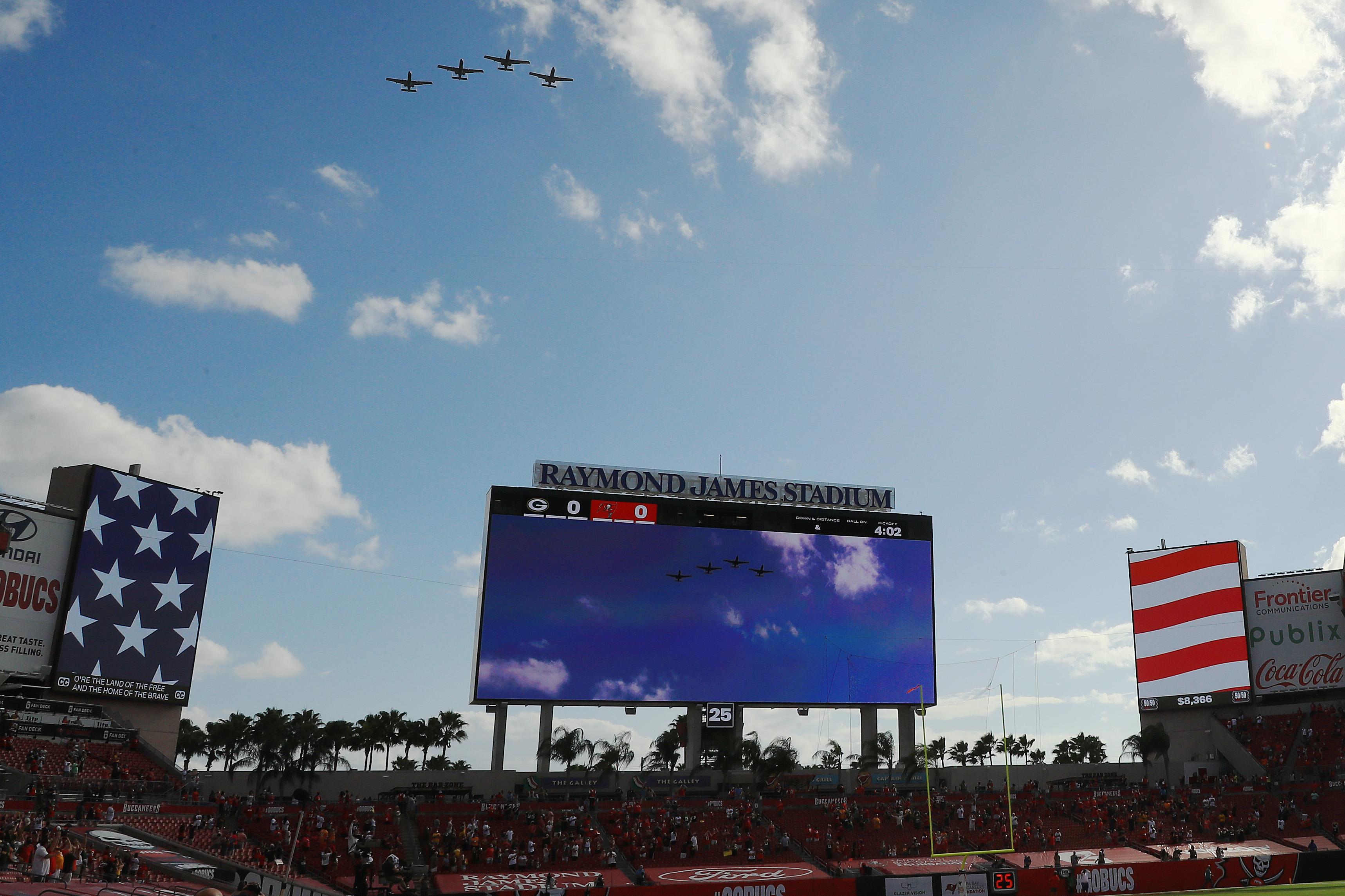 Military flyover at Raymond James Stadium