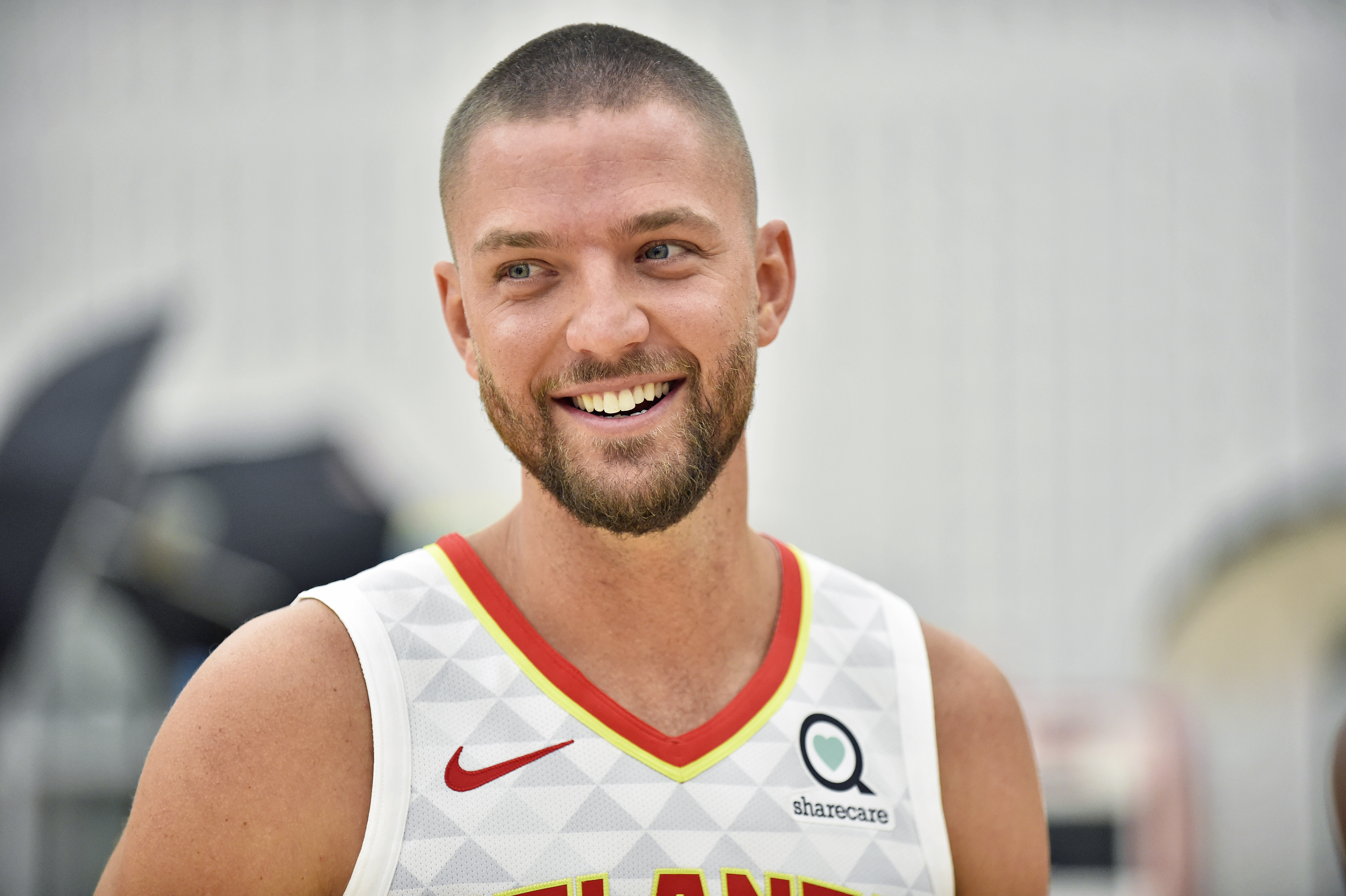 Hawks forward Chandler Parsons talks with reporters