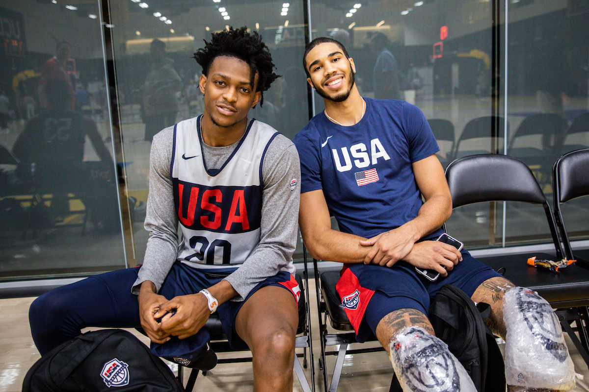De'Aaron Fox (L) and Jayson Tatum smile at the 2019 USA Men's National Team World Cup training camp