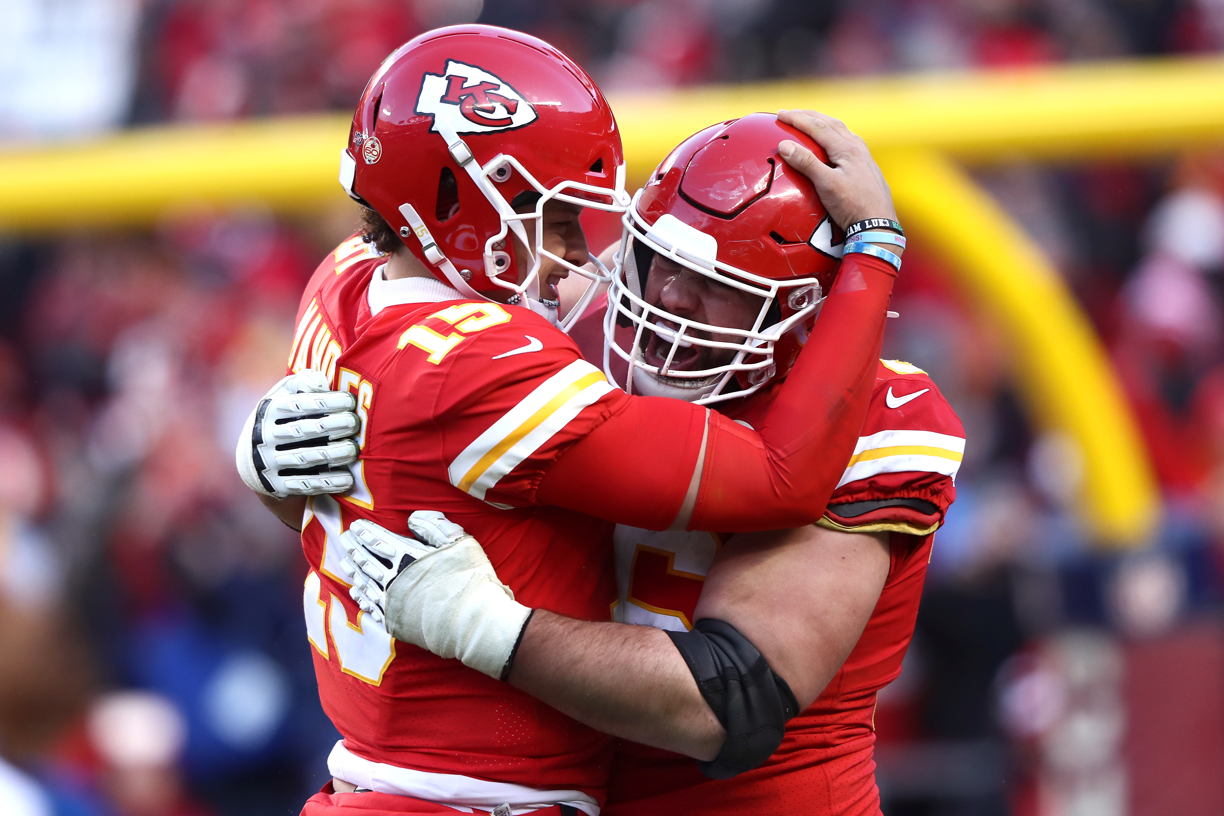 The Chiefs' Patrick Mahomes and Laurent Duvernay-Tardif