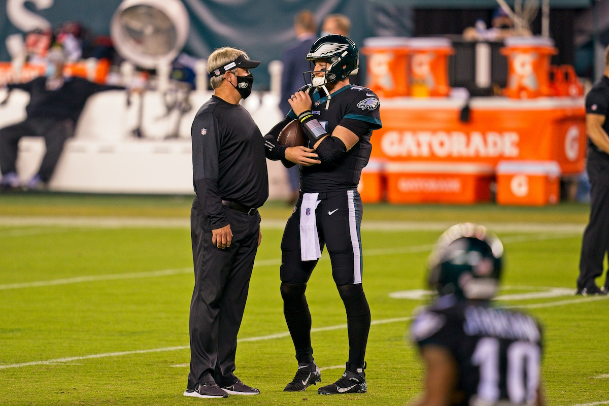 Eagles head coach Doug Pederson and quarterback Carson Wentz