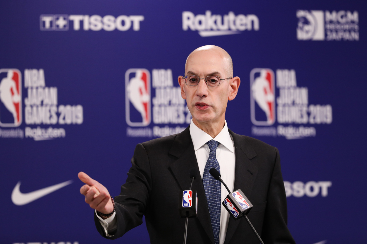 Adam Silver addresses questions at a press conference