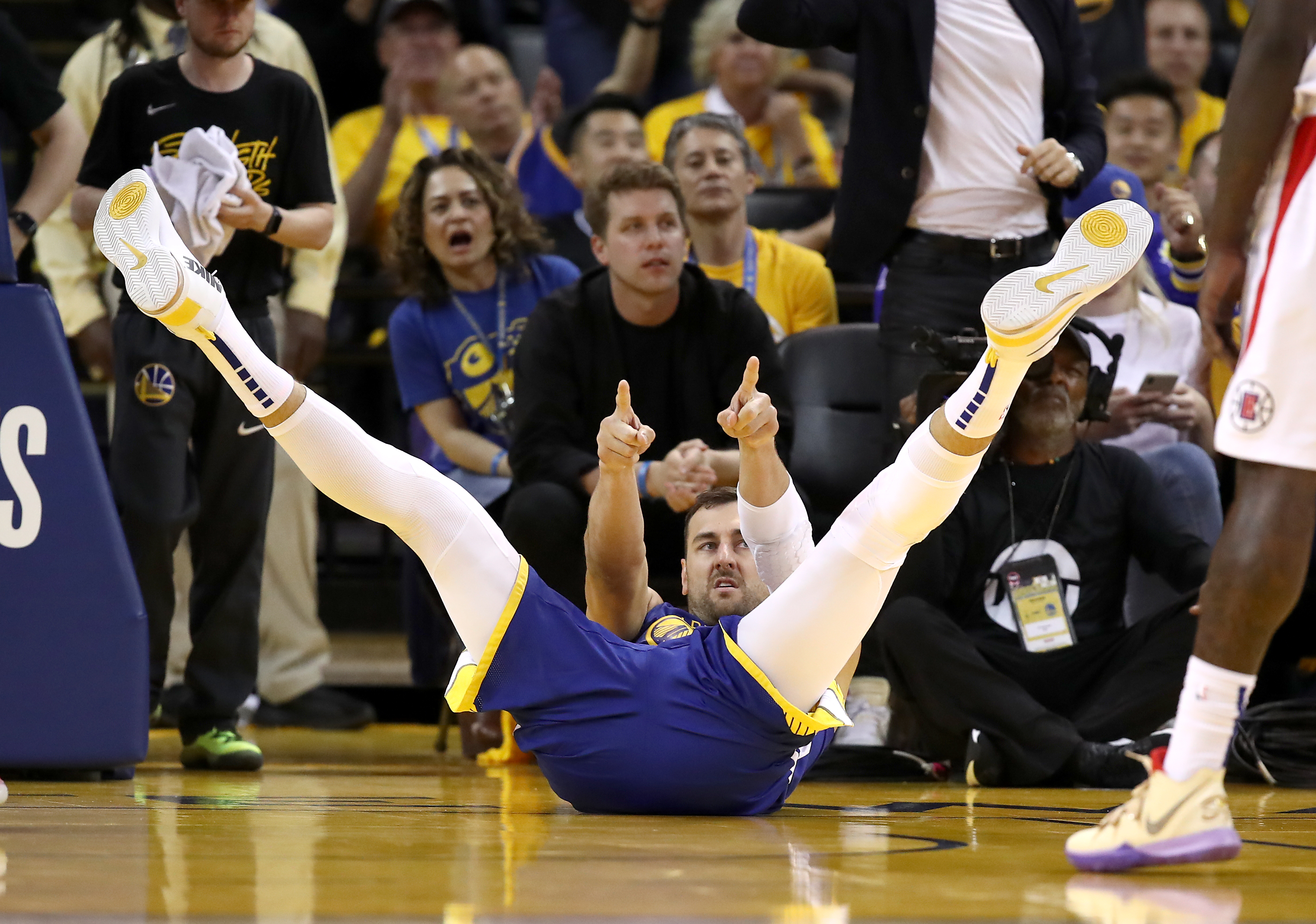 Andrew Bogut of the Golden State Warriors reacts during a game