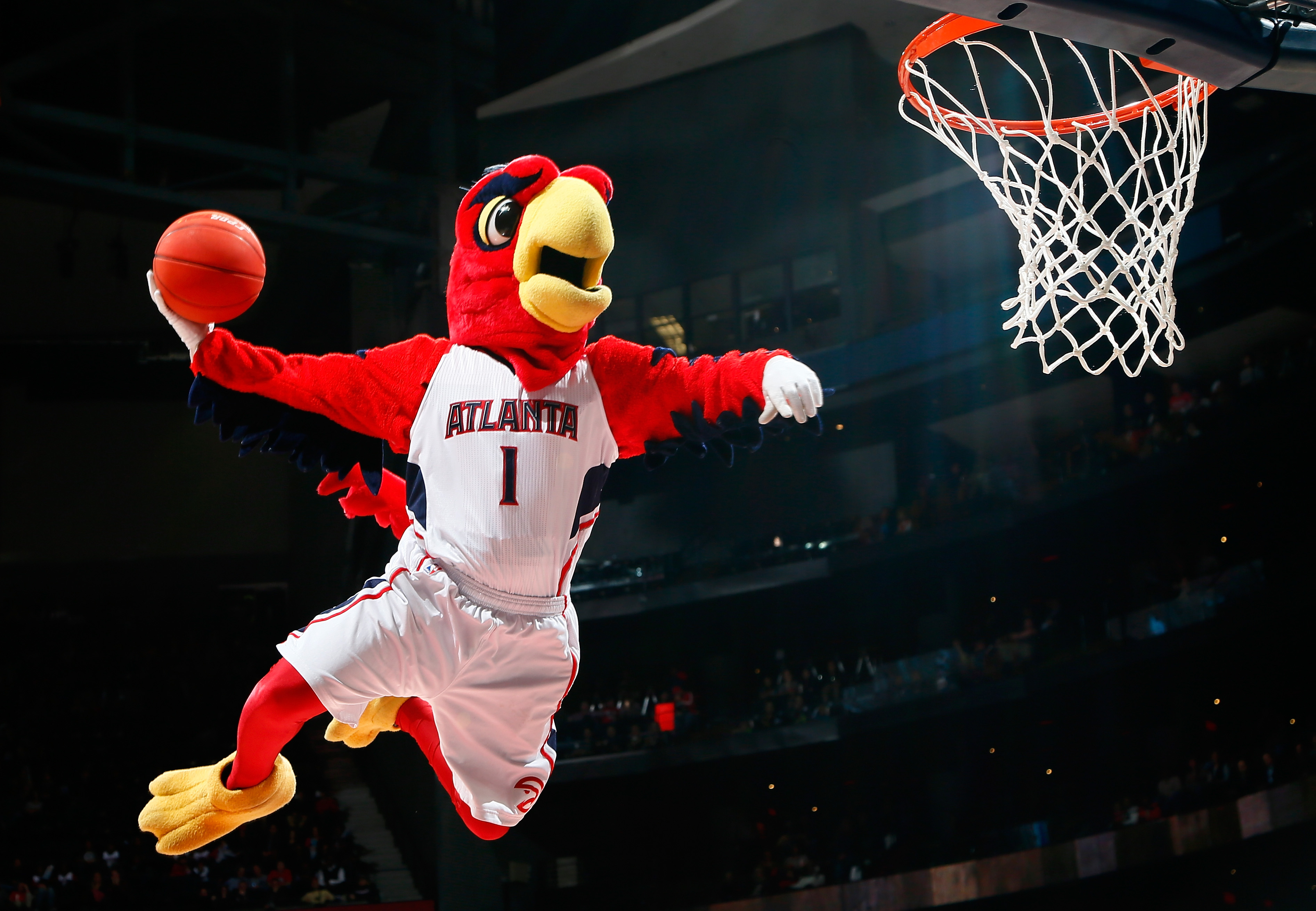 The mascot for the Atlanta Hawks goes up for a durnk