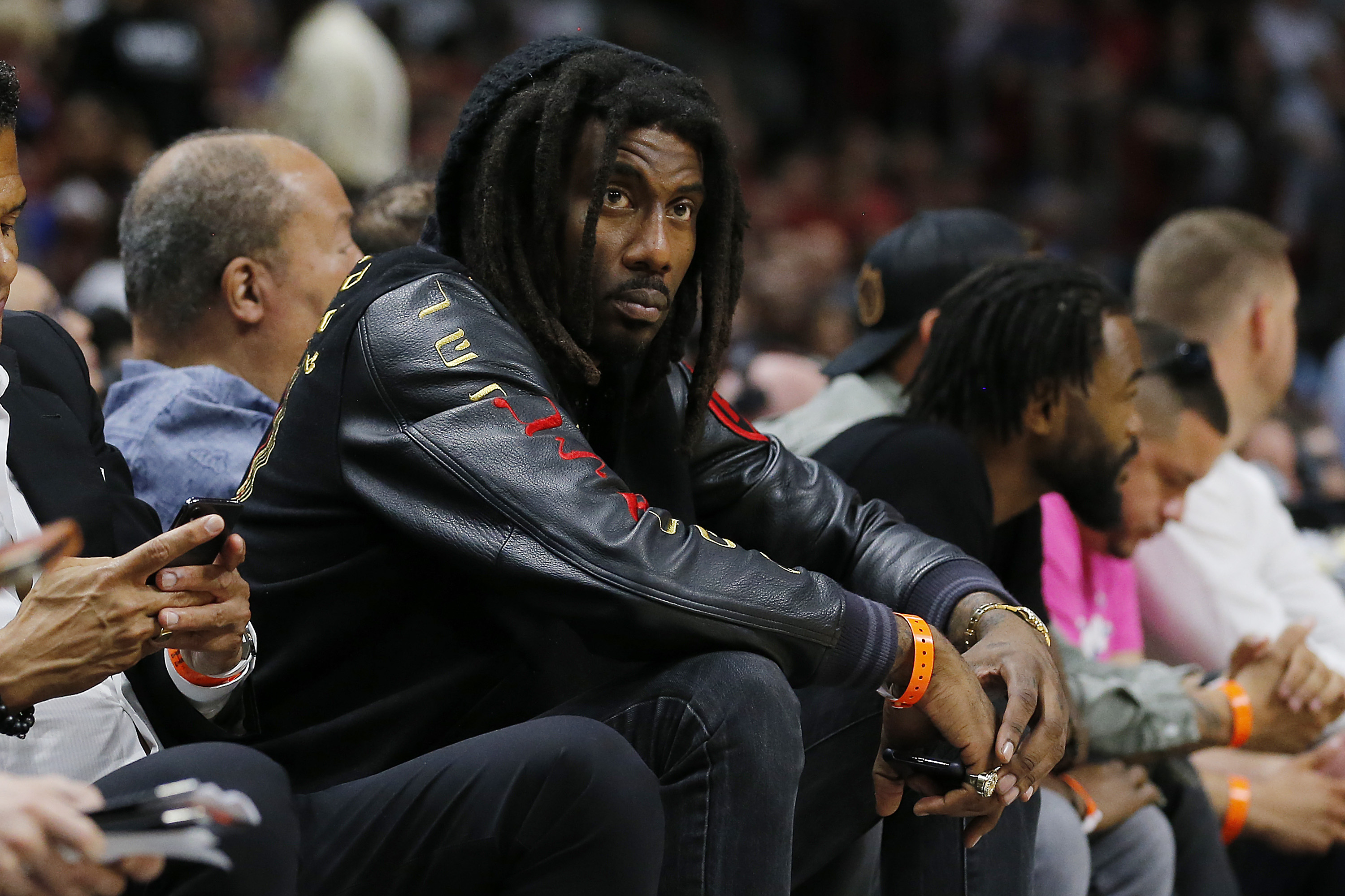 Former NBA player Amar'e Stoudemire looks on during a game