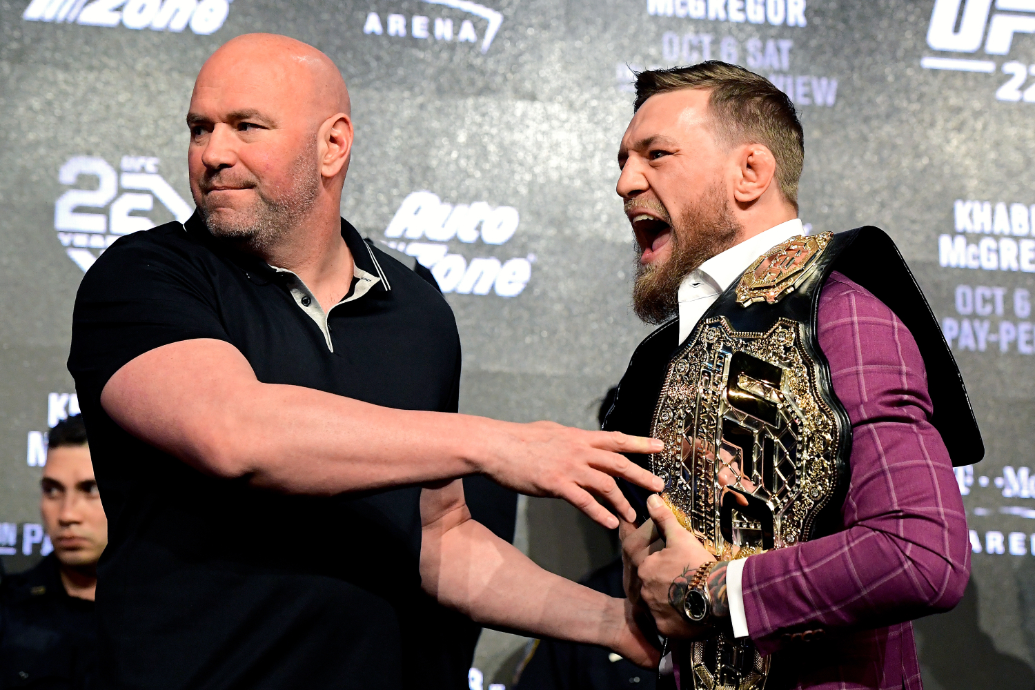 Dana White and Conor McGregor at a press conference