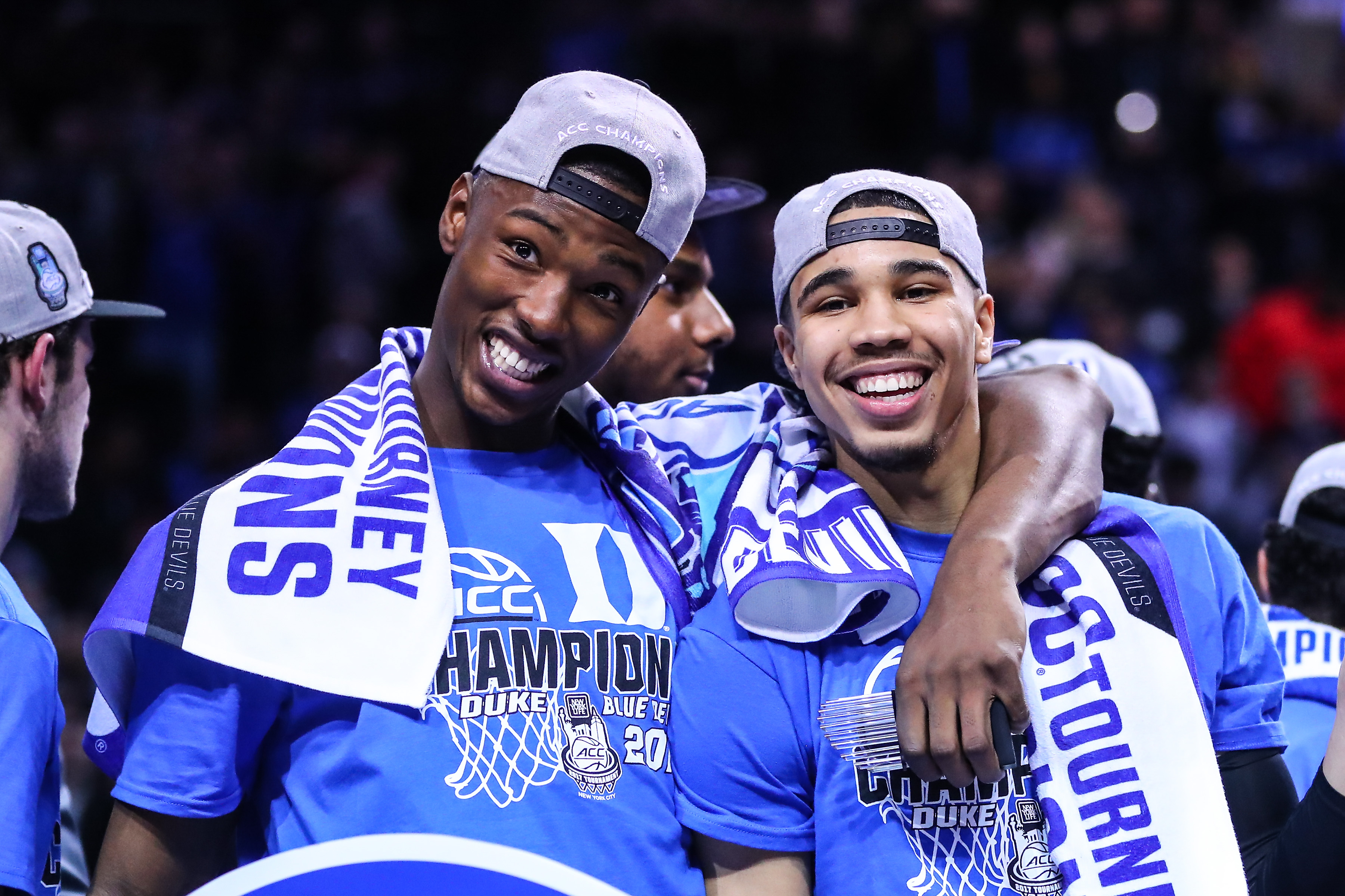 Duke Blue Devils' Harry Giles and Jayson Tatum smile after winning the 2017 NCAA championship