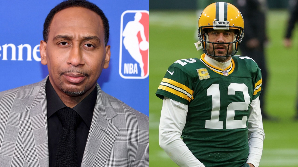 "Stephen A. Smith has always been a big Aaron Rodgers fan. However, he recently said that the Packers quarterback has been ""weak."""