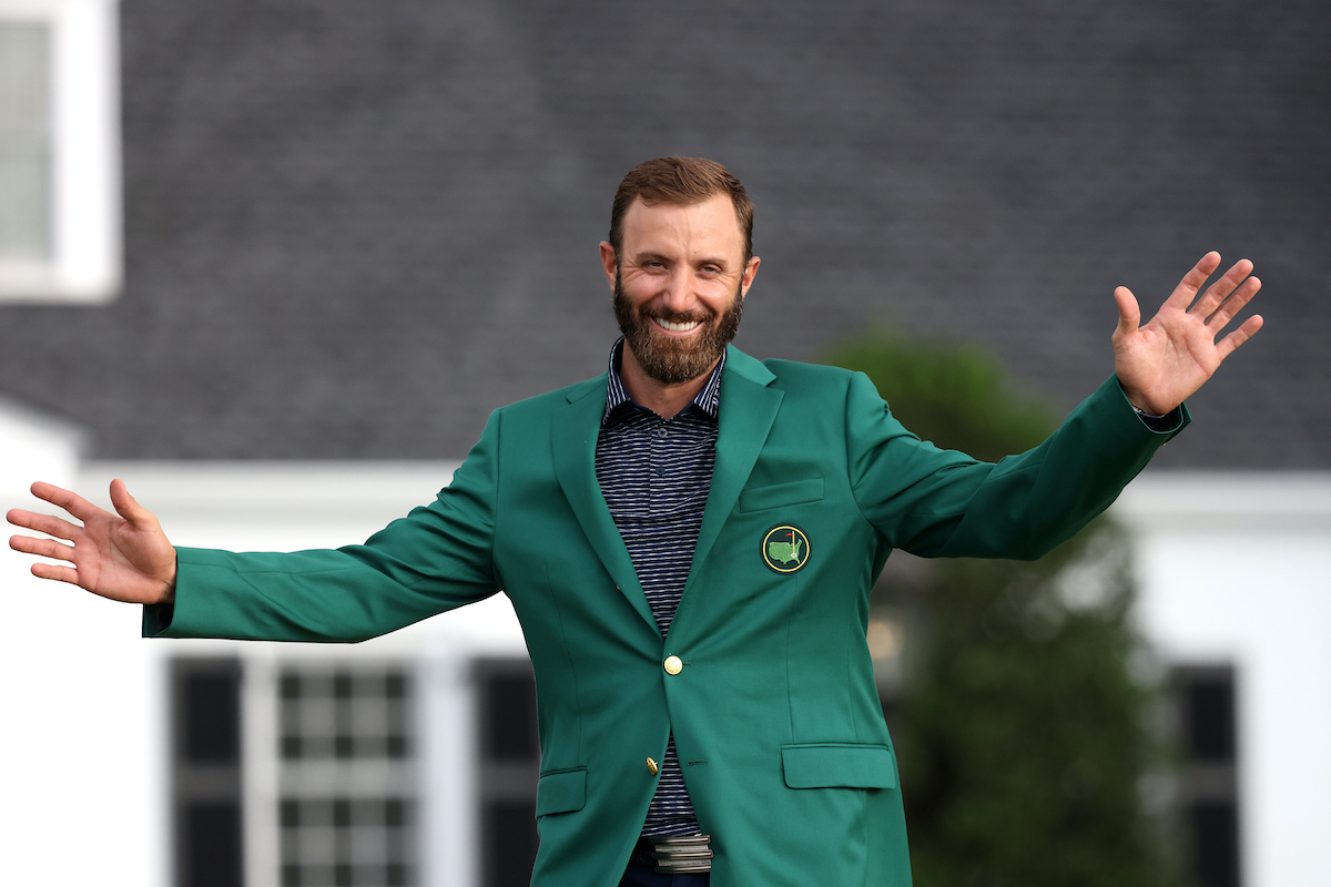 Dustin Johnson during the Green Jacket Ceremony after winning the 2020 Masters