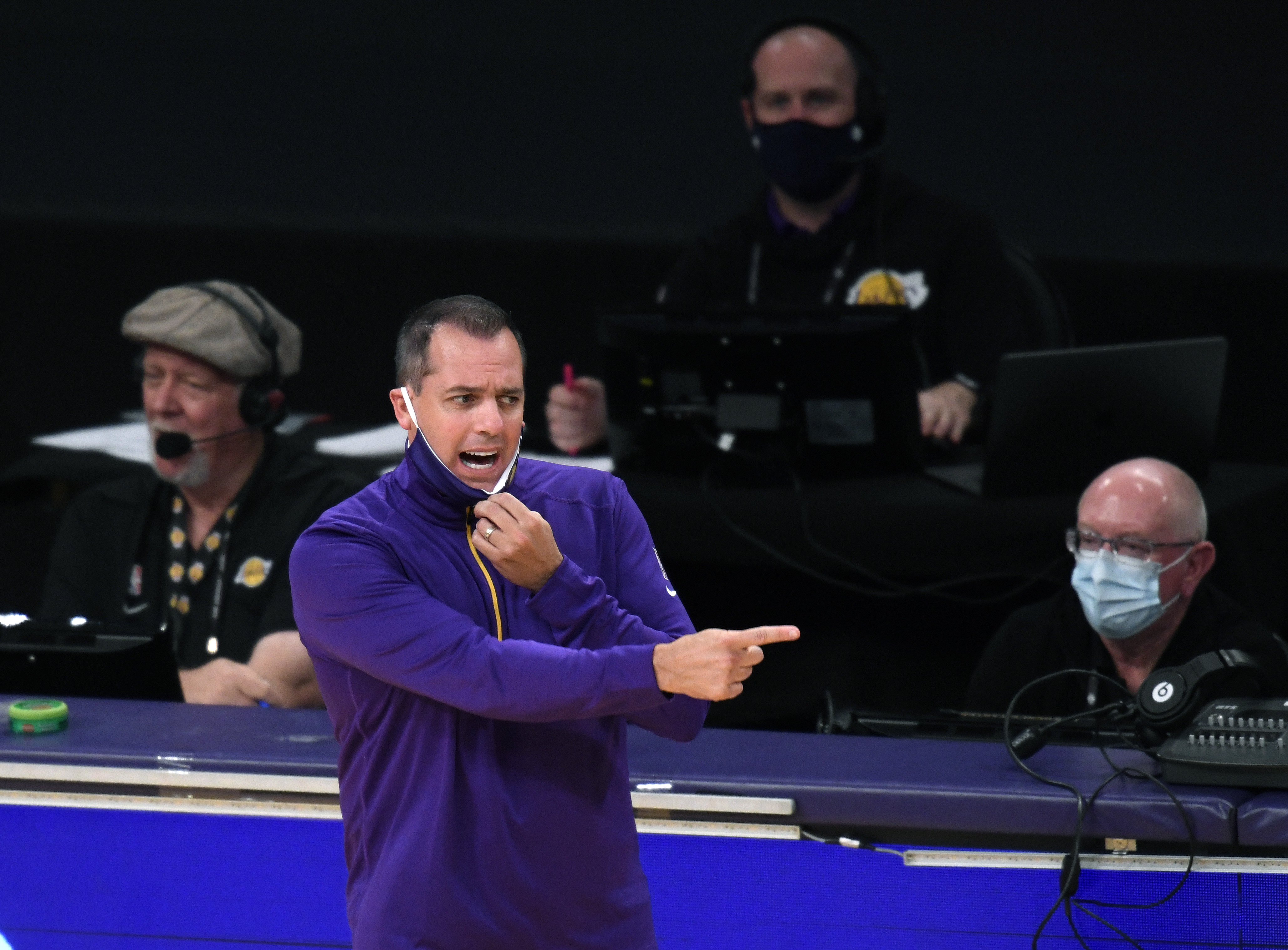 Head coach Frank Vogel of the Los Angeles Lakers reacts from the sidelines