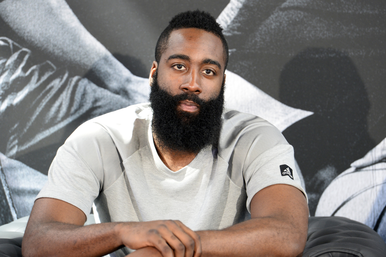 James Harden talks to the media at a press conference