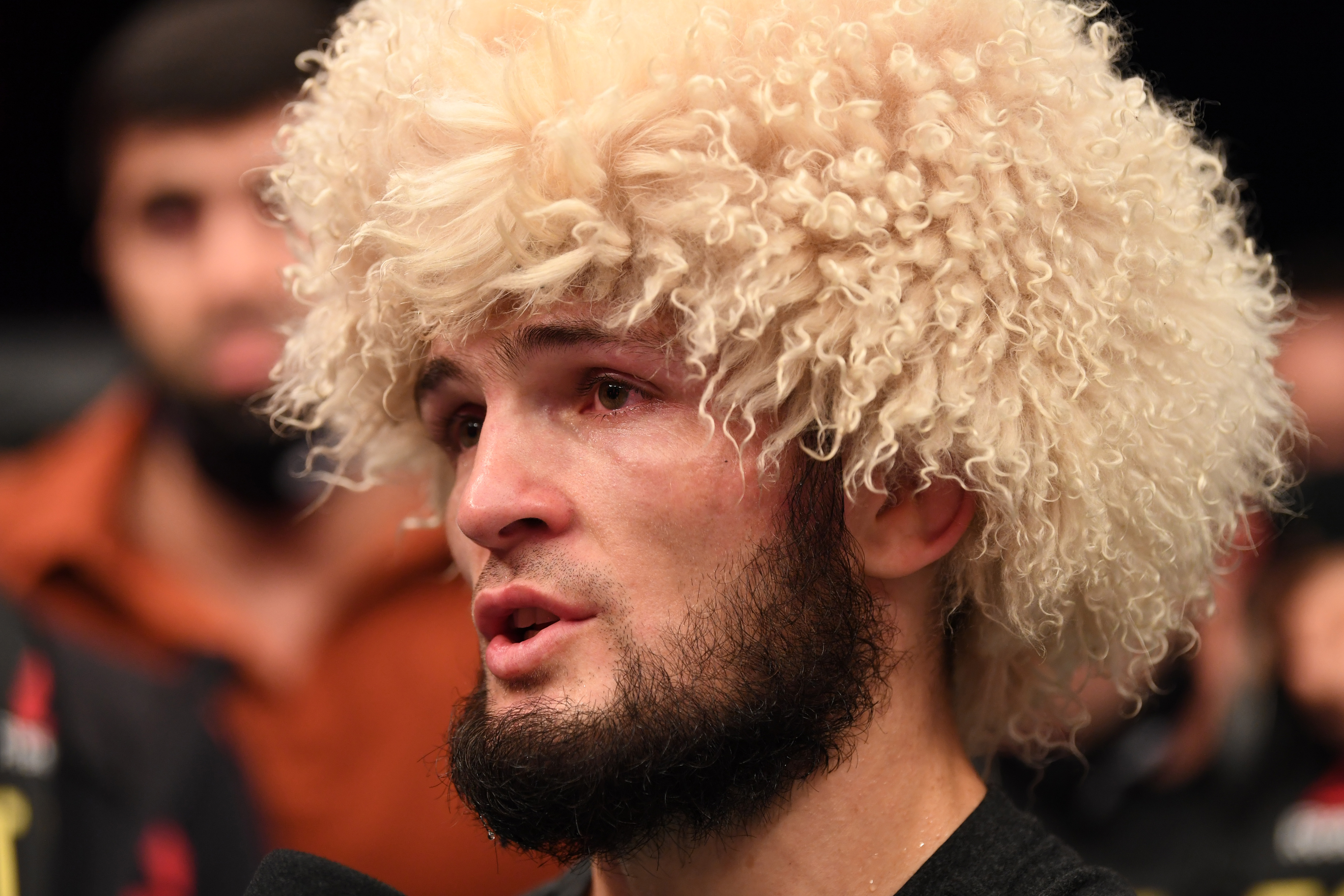 Khabib Nurmagomedov gives an interview after UFC 254