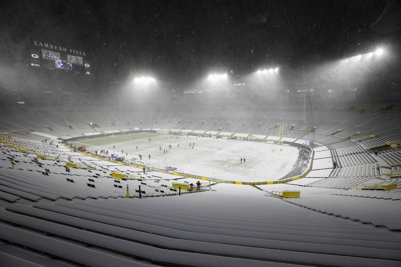 Lambeau Field in the snow
