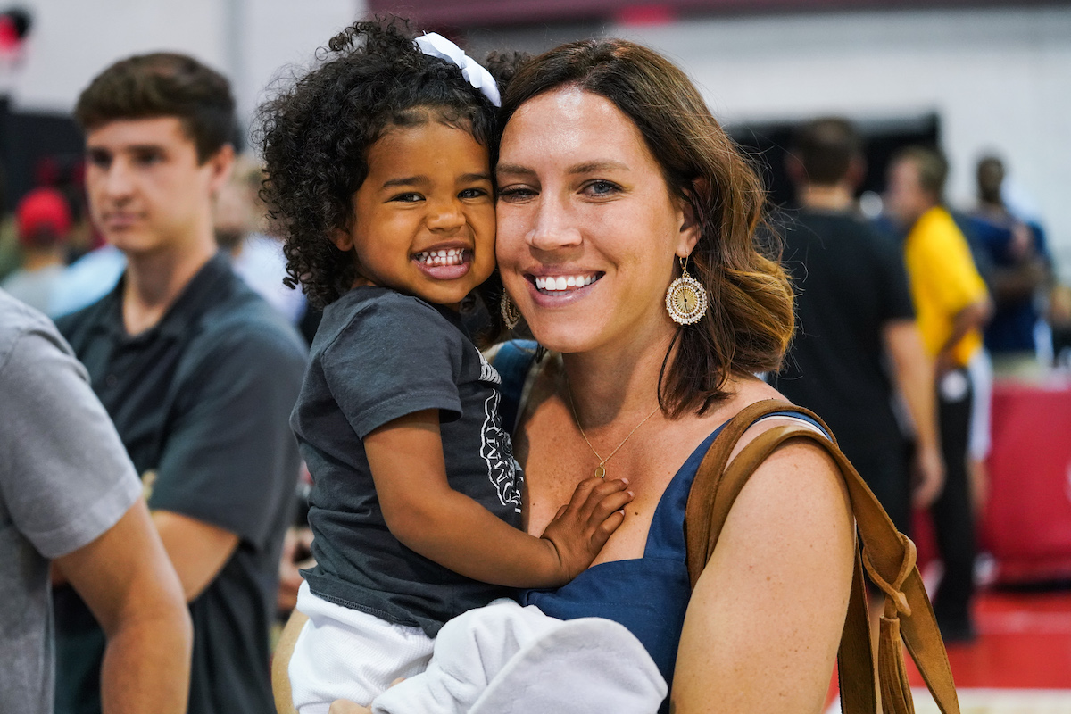 Lauren Holiday (R) and daughter J.T. Holiday smile during the 2020 NBA Summer League