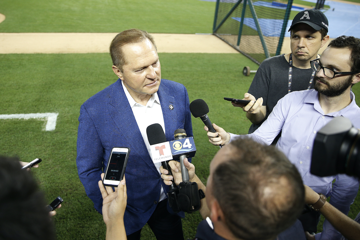 Agent Scott Boras prior to a game between the Miami Marlins and the New York Mets
