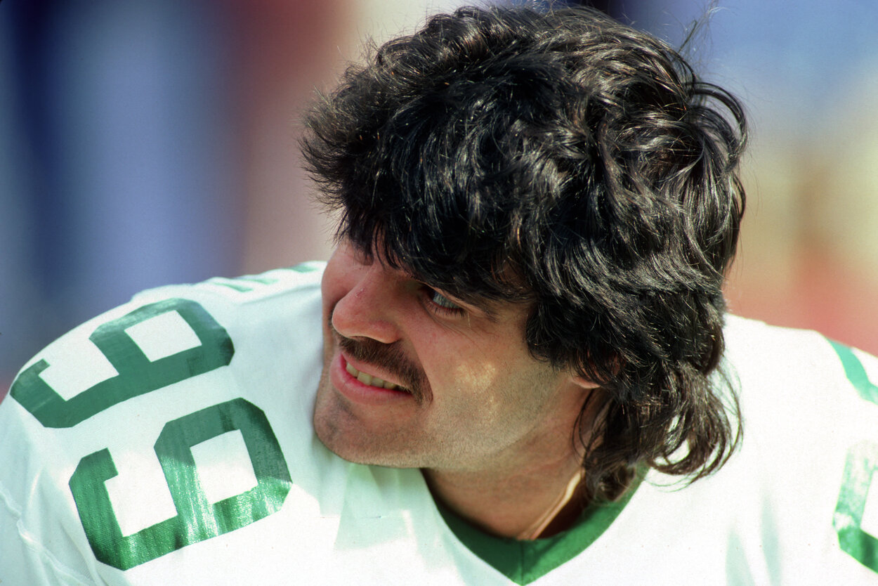 Former New York Jets defensive lineman Mark Gastineau during a 1985 game.