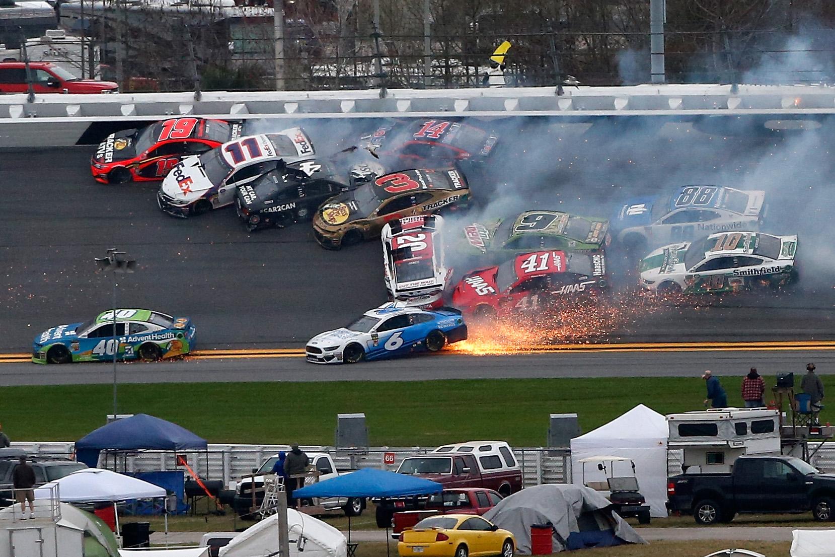 Cars crash during a NASCAR race