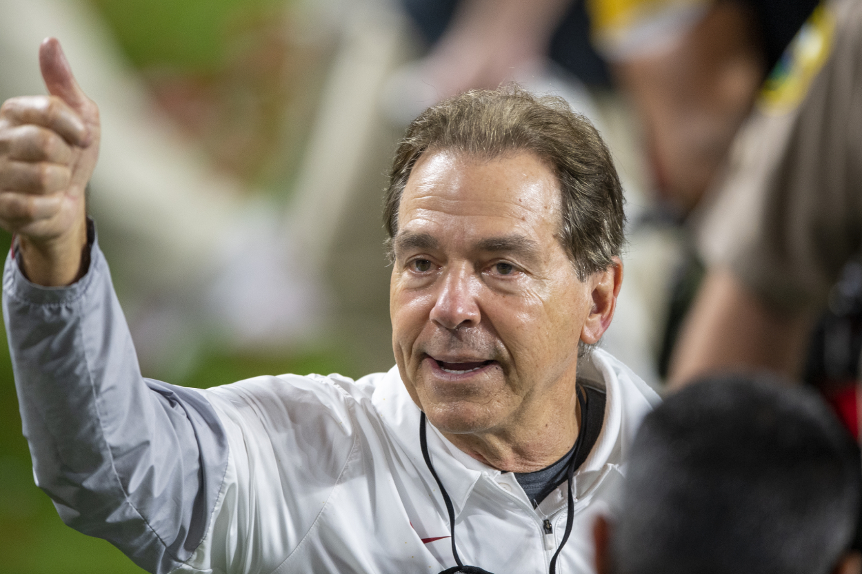 Nick Saban celebrates after winning the National Championship game