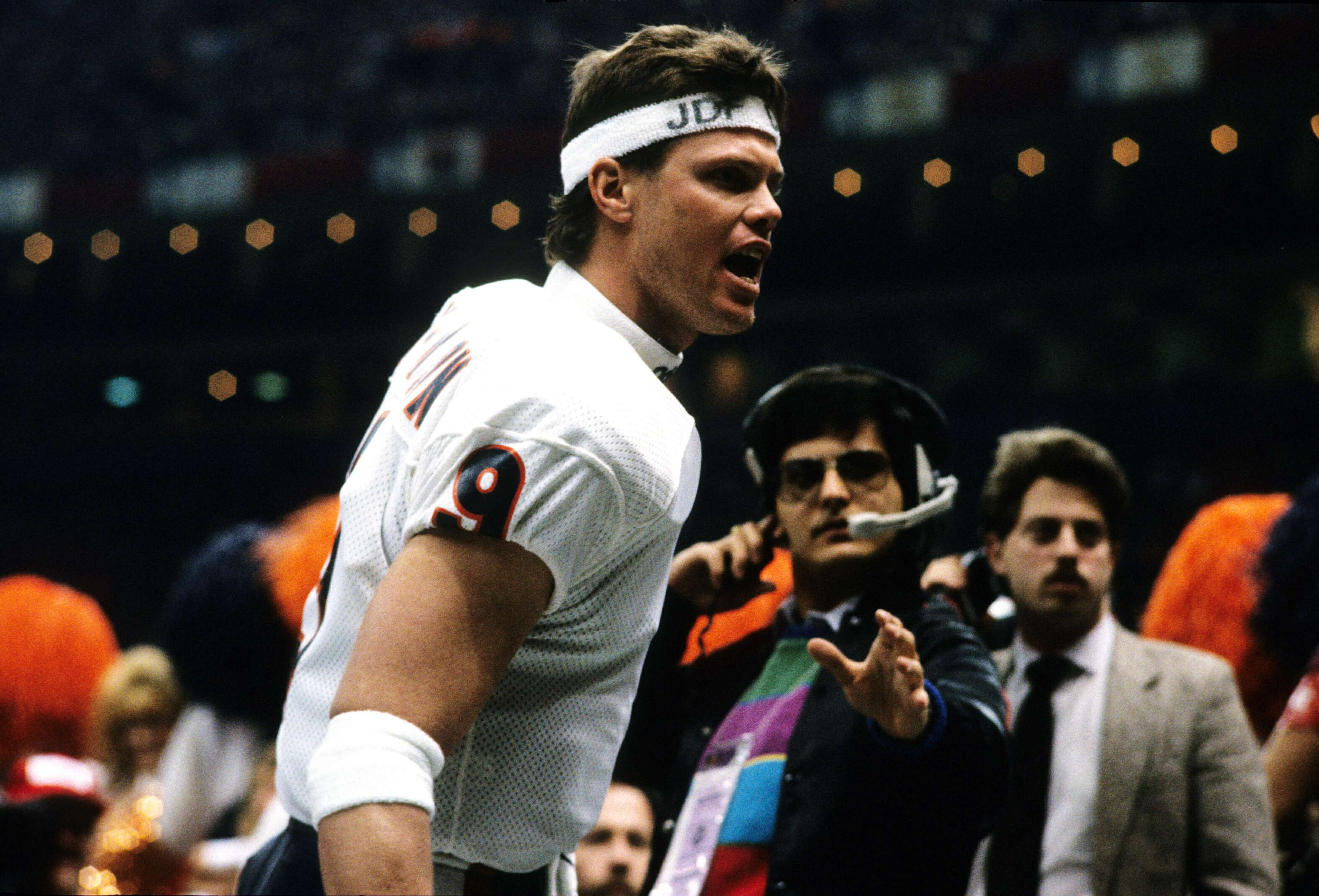 Quarterback Jim McMahon of the Chicago Bears celebrates after winning Super Bowl XX
