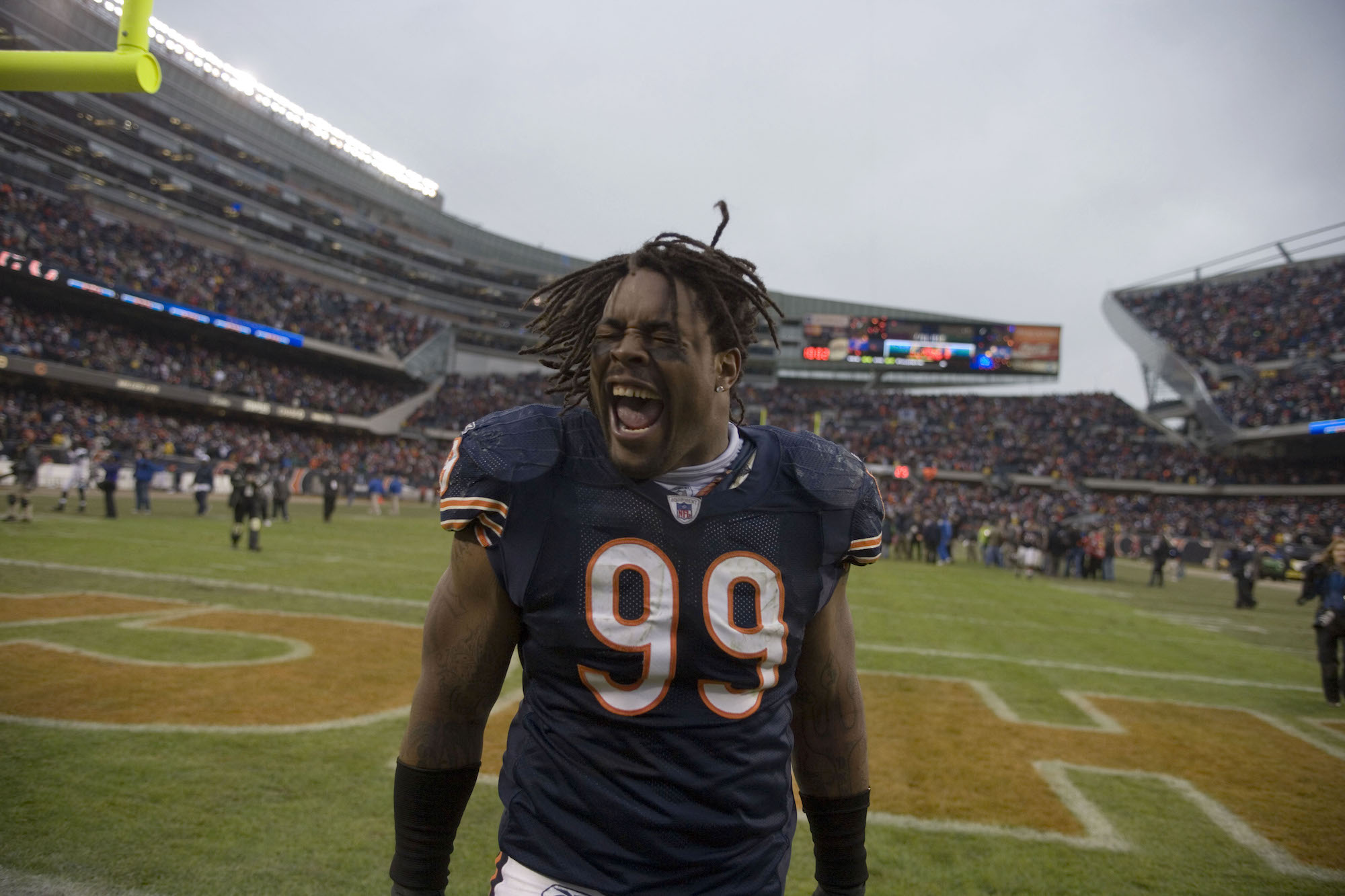 NFL player Tank Johnson of the Chicago Bears stands on Soldier Field on January 14, 2007, during an NFL playoff game against the Seattle Seahawks.