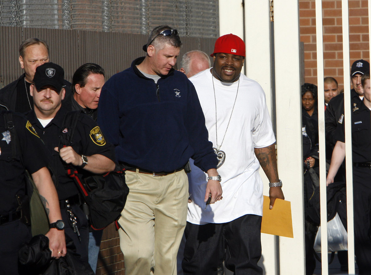 The Chicago Bears' Tank Johnson (right) is released from Cook County Jail in Chicago, Illinois, on Sunday, May 13, 2007, after serving time for a probation violation stemming from weapons charges.