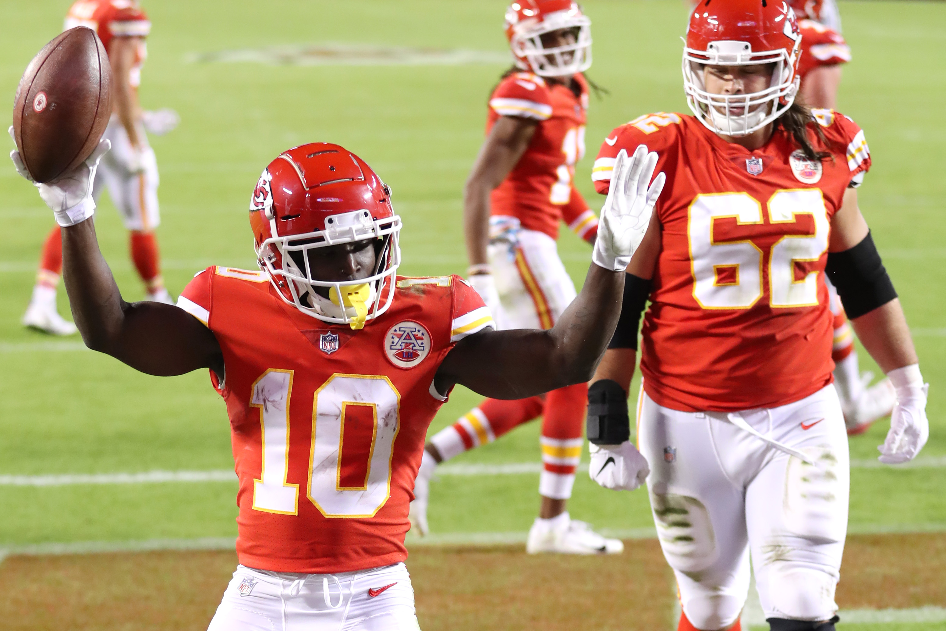 Tyreek Hill celebrates after scoring a touchdown