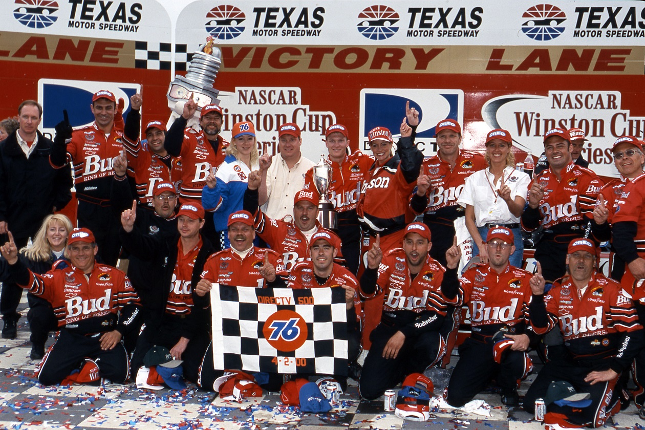 Dale Earnhardt Jr. and crew in Victory Lane after his first career Cup Series win