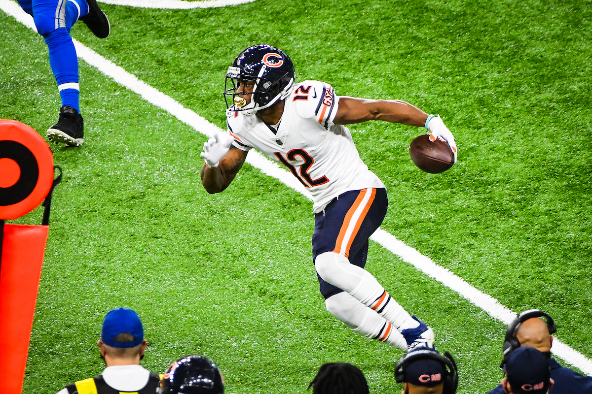 Allen Robinson of the Chicago Bears makes a move after catching the ball