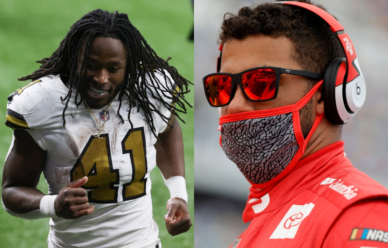 New Orleans Saints running back Alvin Kmara (L) during a 2020 game, and NASCAR driver Bubba Wallace in 2021.