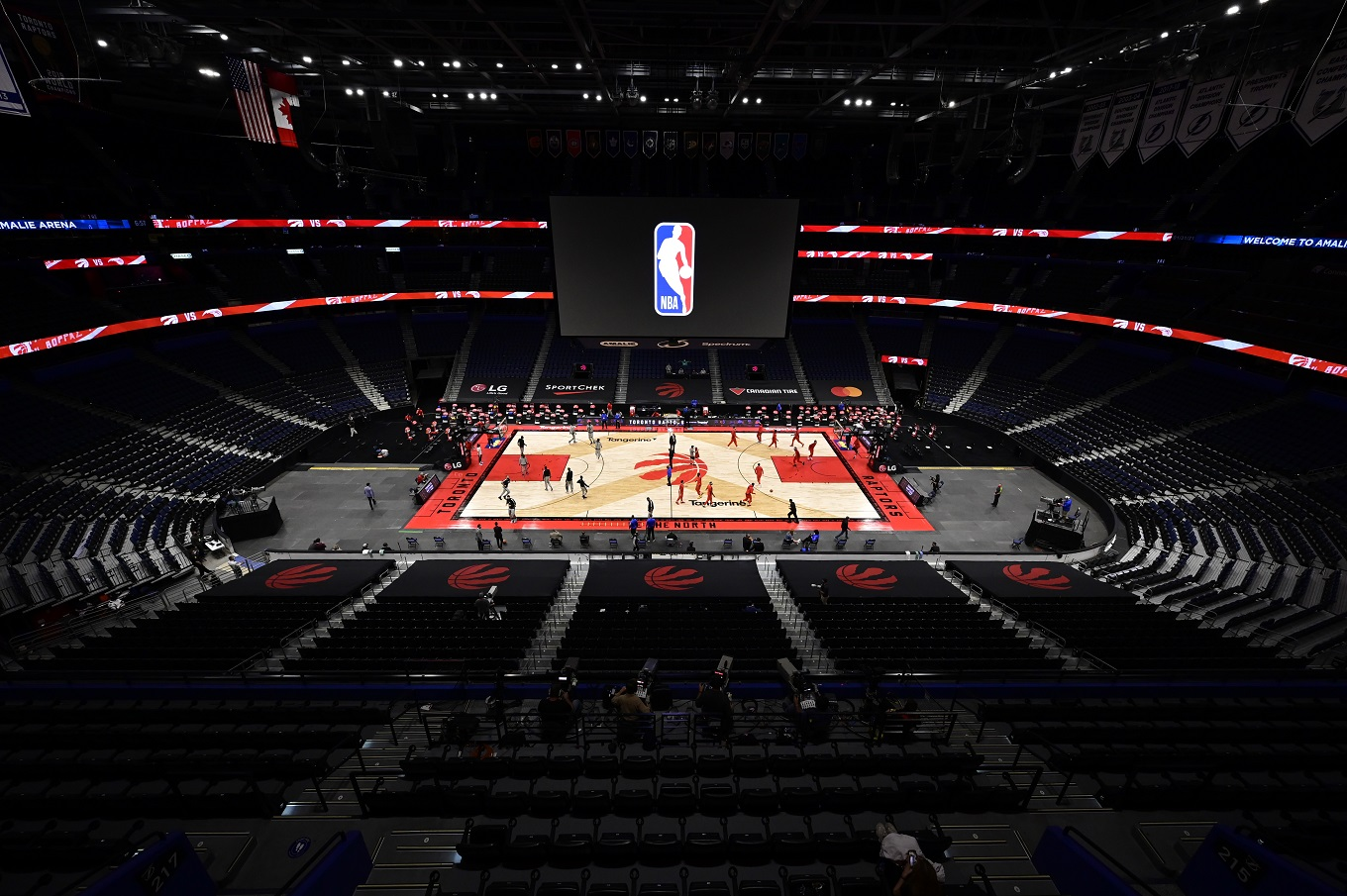 "Amalie Arena in Tampa, set up for a Toronto Raptors ""home"" game"