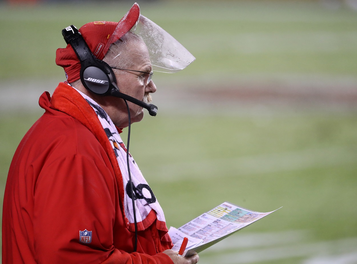 Kansas City Chiefs head coach Andy Reid sporting his famous face shield