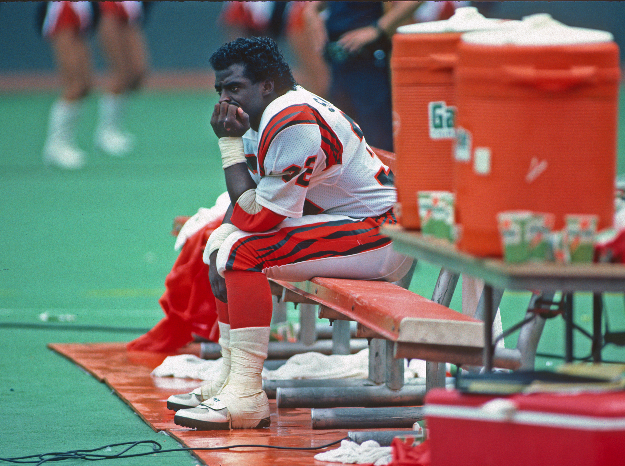 Stanley Wilson sits on the bench during a Bengals game