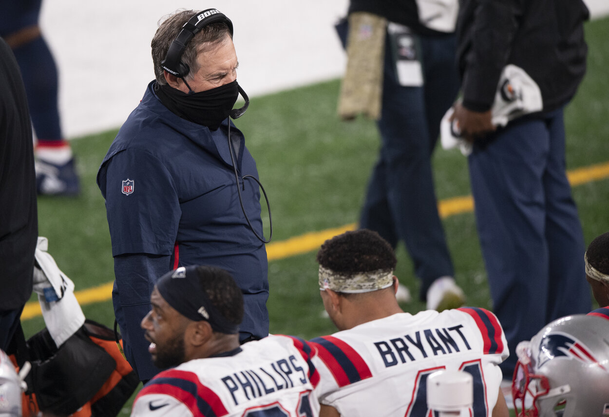 New England Patriots head coach Bill Belichick during a 2020 game.