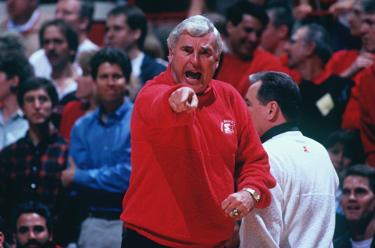 Indiana University head coach Bobby Knight yells at a referee