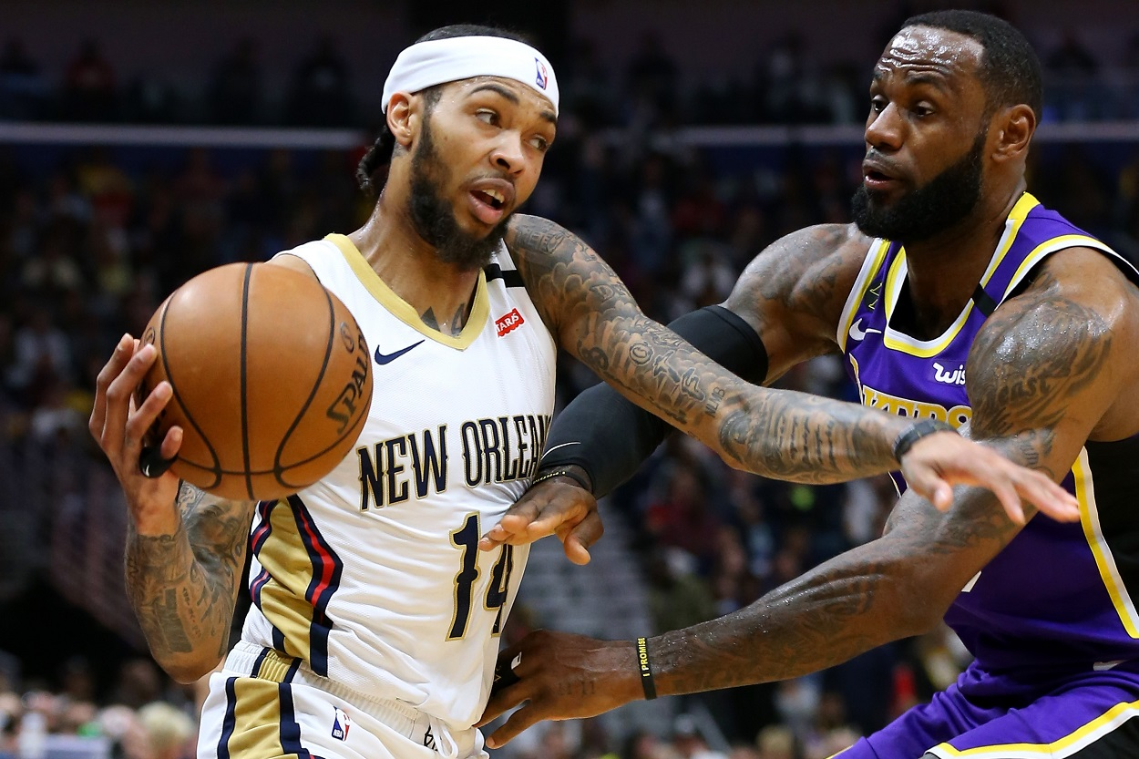 Brandon Ingram and LeBron James battle in a 2020 matchup between the Pelicans and Lakers