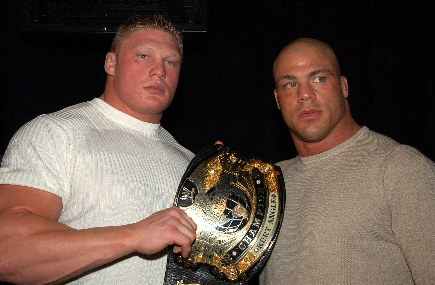 Brock Lesnar and Kurt Angle had arranged to have the WWE title change hands at WrestleMania 19.| Theo Wargo/WireImage