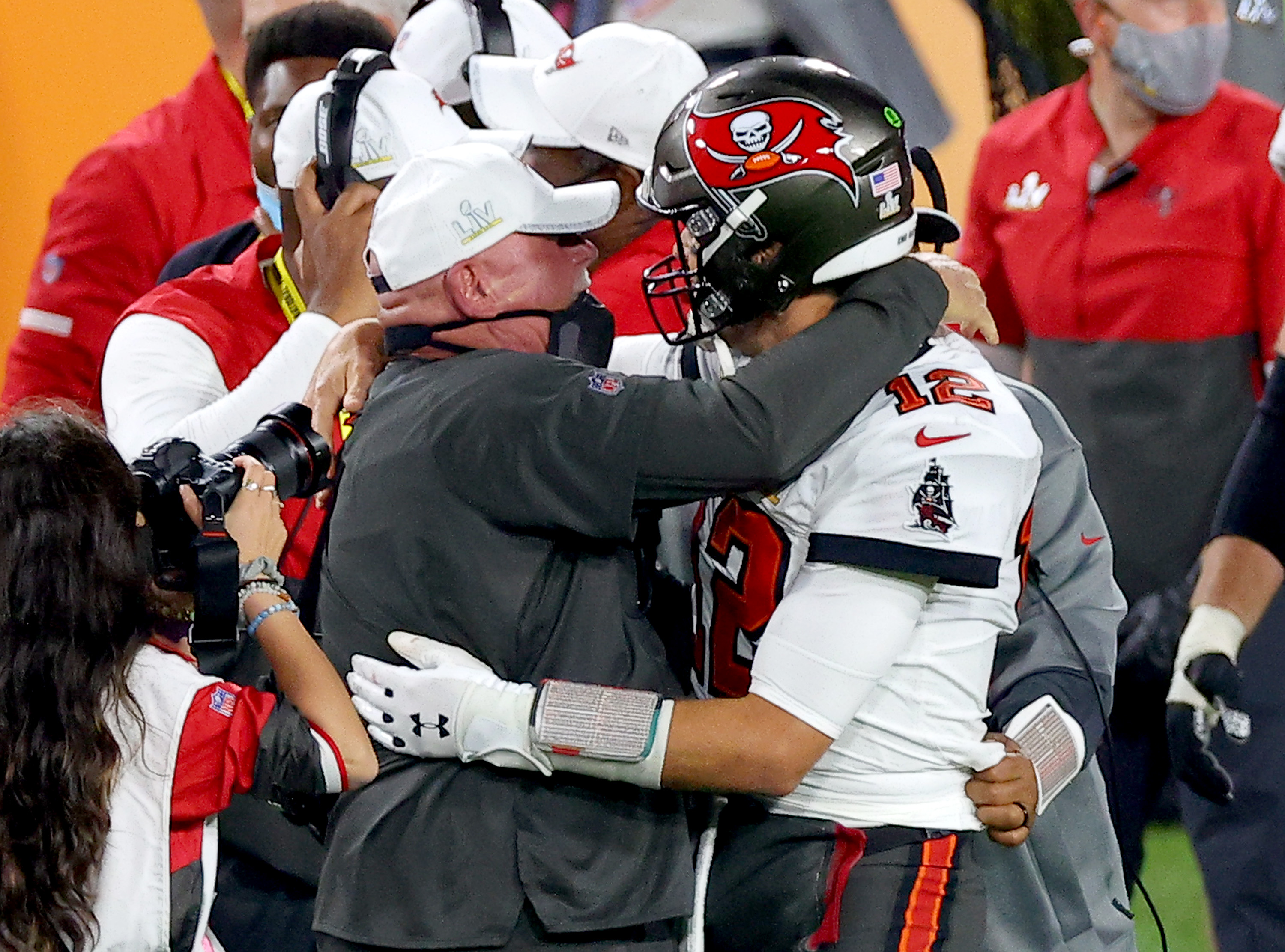 Tom Brady and Bruce Arians celebrate after winning the Super Bowl