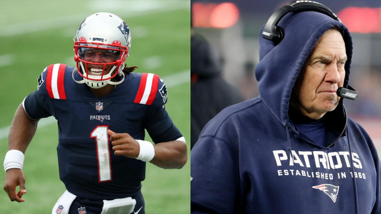 Patriots quarterback Cam Newton and Patriots coach Bill Belichick.