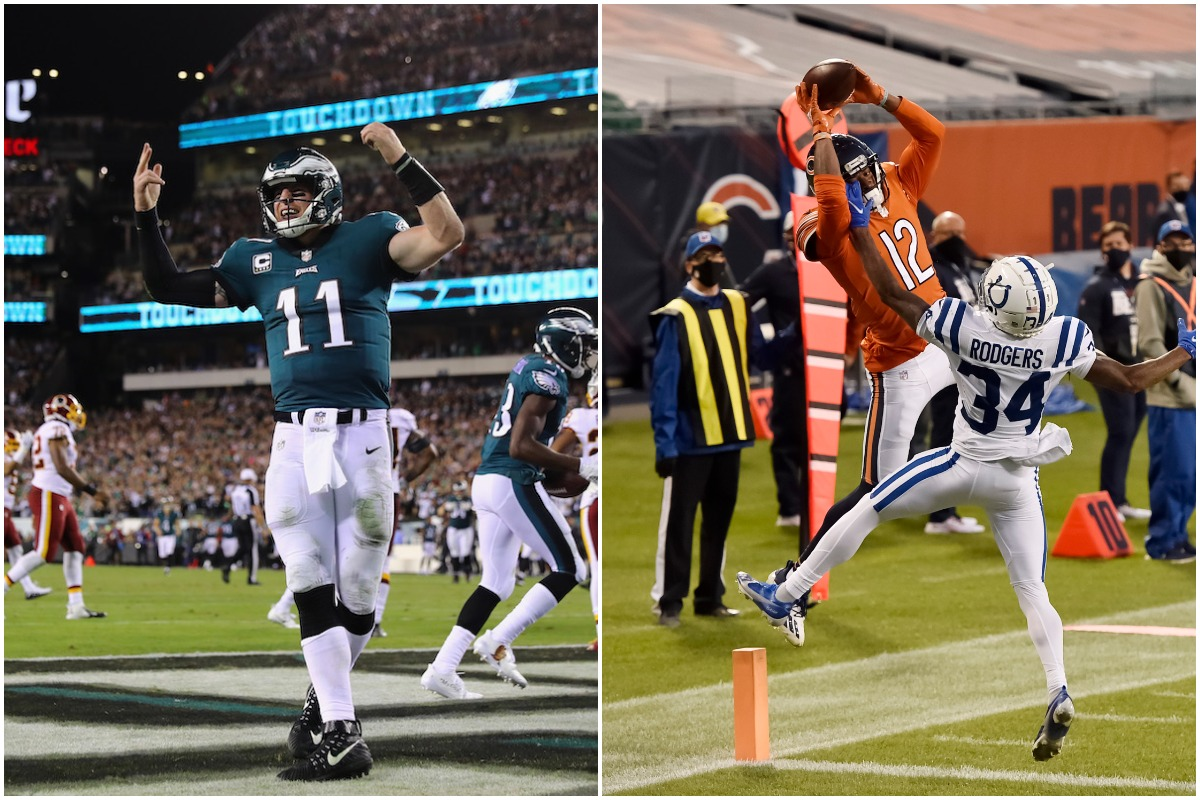 Carson Wentz (left) celebrates a touchdown and Allen Robinson (right) catches a pass